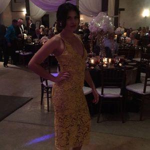Mustard cocktail dress